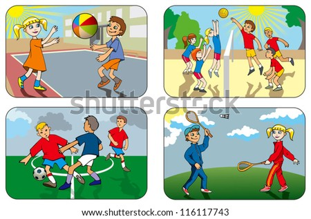 Children play different outdoor games, volleyball, soccer, badminton, vector illustration - stock vector