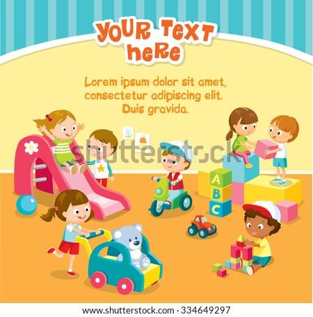 children play with toys in the kindergarten - stock vector
