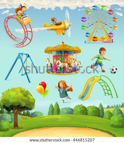 Children playground, set of vector icons - stock vector
