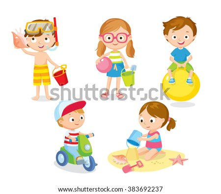 children playing at the beach on summer holidays - stock vector