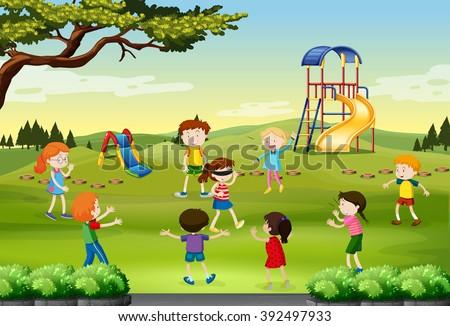 Children playing blind folded in the park illustration - stock vector