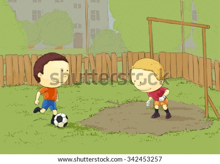 Children playing football in the yard - stock vector
