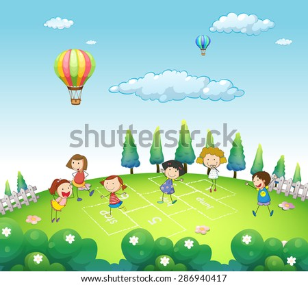Children playing hop and stop in a park - stock vector