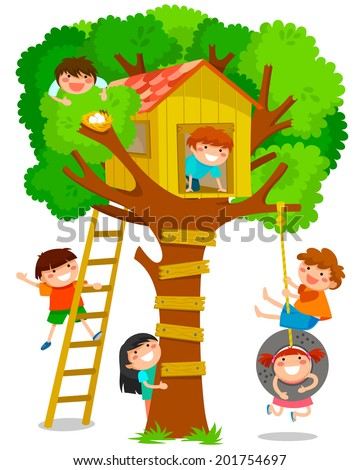 children playing in a tree house - stock vector