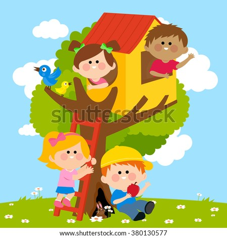 Children playing in a tree house.  - stock vector