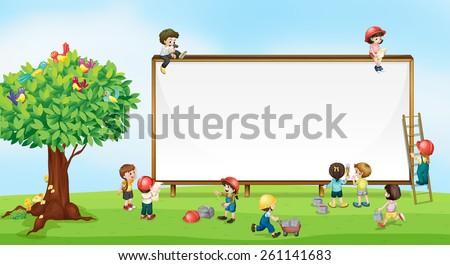 Children playing in the garden - stock vector