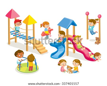 Children playing in the playground isolated on white - stock vector