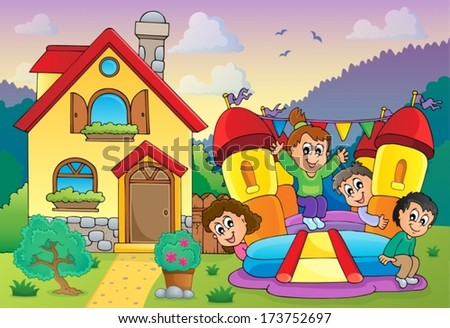 Children playing near house theme 3 - eps10 vector illustration. - stock vector