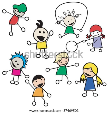 Children playing silhouettes isolated on white background - stock vector