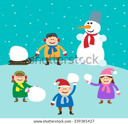 children playing snowballs. kids with snowman. winter holidays - stock vector