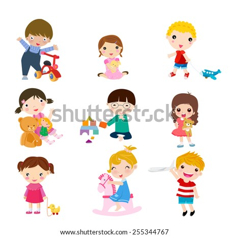 Children playing toys - stock vector
