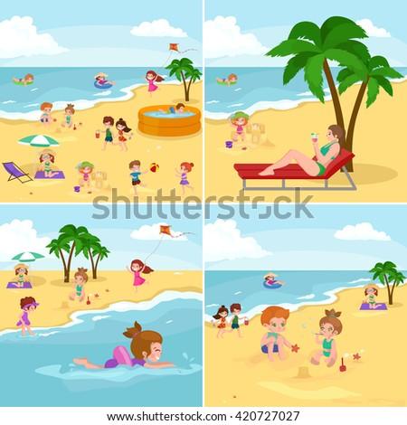 children playing vector, children playing illustration, children playing beach, children playing summer, children playing sea, children playing vacation, children playing fun, children playing sand - stock vector