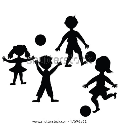 Children playing with balls - stock vector