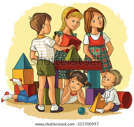 Children Playing with Building Colorful Blocks. Also available outlined version - stock vector