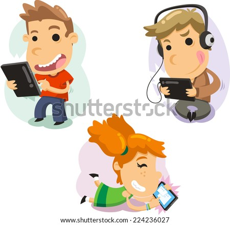 Children playing with computer tablets Technology, vector illustration cartoon. - stock vector