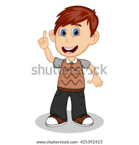 Children pointing his hand wearing brown short sleeve sweater and black trousers  cartoon vector illustration - stock vector