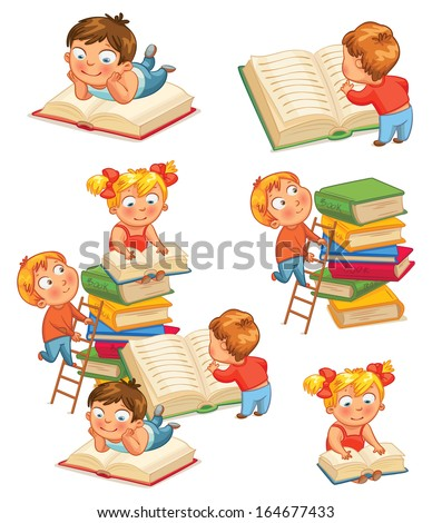 Children reading books in the library. Vector illustration. Isolated on white background. Set - stock vector