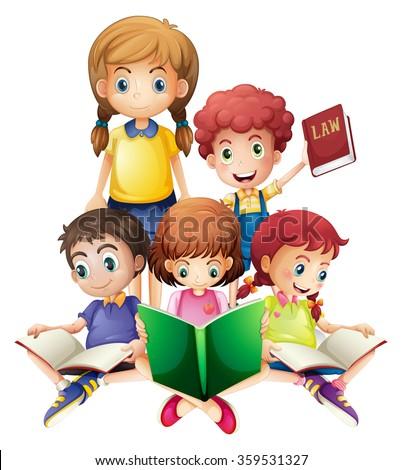 Children reading books together illustration - stock vector