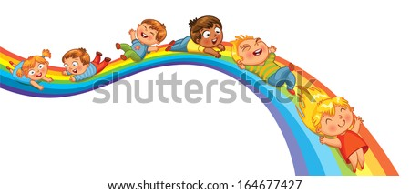 Children ride on a rainbow. Vector illustration. Isolated on white background - stock vector
