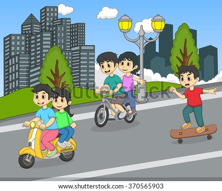 Children riding a scooter, bicycle and skateboard on the street cartoon vector illustration - stock vector