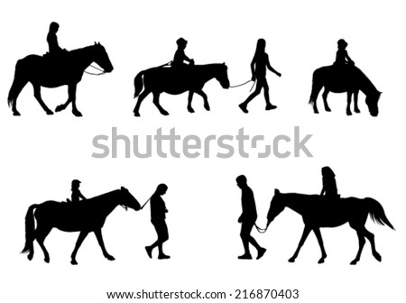 children riding horses silhouettes - stock vector