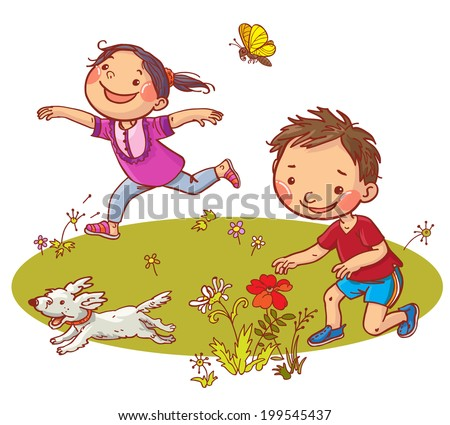 Children running and picking flowers. Summer activities. Children illustration for School books, magazines, advertising and more. Separate Objects. VECTOR. - stock vector