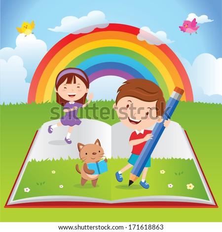 Children's activities with book - stock vector