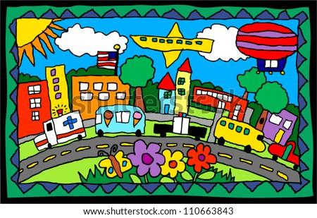 children's artwork of a city scene with trucks, buildings, flowers - stock vector
