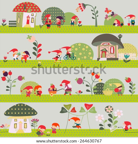 children's background with the gnomes - stock vector
