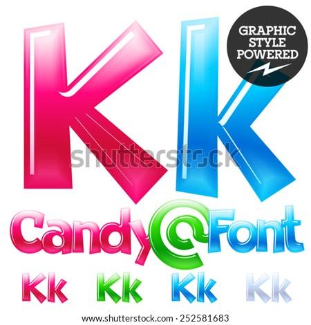 Children's candy font. Set of vector symbols. Letter K - stock vector