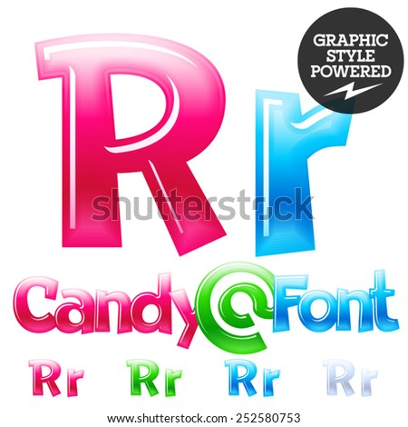 Children's candy font. Set of vector symbols. Letter R - stock vector