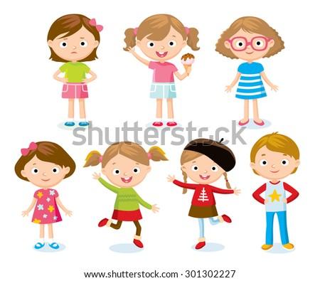 children's cute characters - stock vector