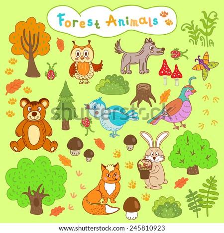 children's drawings forest animals, cartoon set of cute wild animals  - stock vector