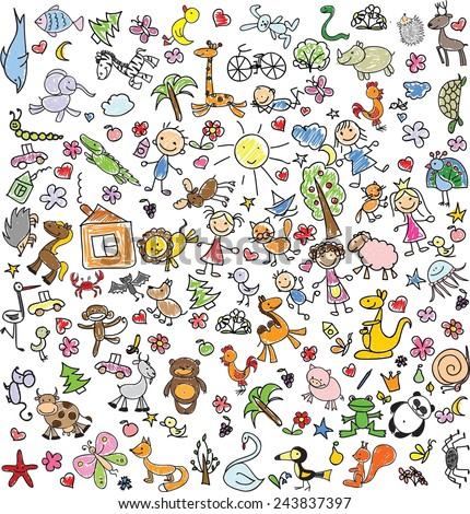 Children's drawings of doodle animals, people, flowers  - stock vector