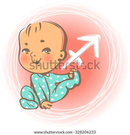 Children's horoscope icon. Kids zodiac. Little baby boy as Sagittarius astrological sign. Kid sitting wearing blue overalls. Colorful vector illustration. Astrological symbol as cartoon character. - stock vector