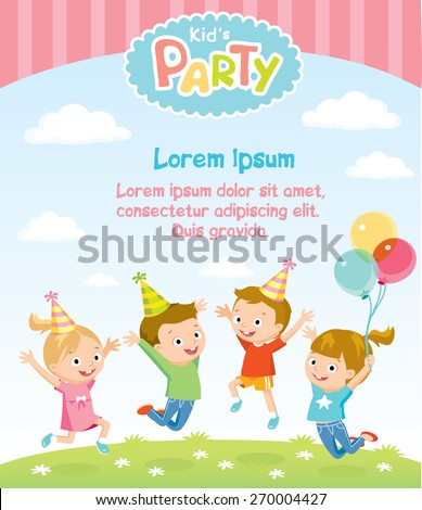 children's party invitation with jumping kids - stock vector