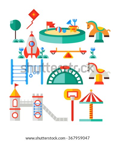 Children's playground. Teeter board, swings, sandbox, umbrella, rocket-house, castle,  bench, toy horse, horizontal bar for children, net basketball.  - stock vector