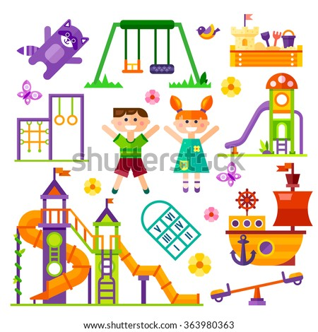 Children's  playground. Teeter board, Swings, sandpit, sandbox, bench, tree-house, children  slide, happy boy and girl, toy ship. Baby-themed flat stock illustration with isolated elements.  - stock vector
