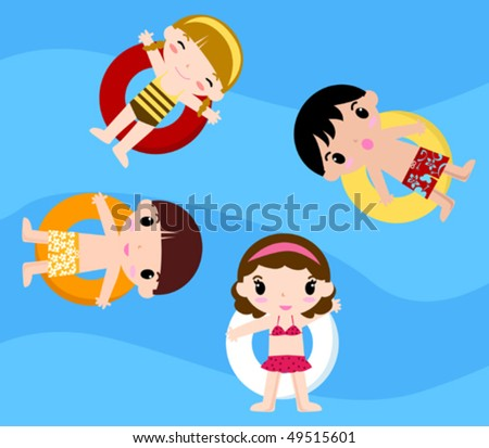 Children's Pool Party - stock vector