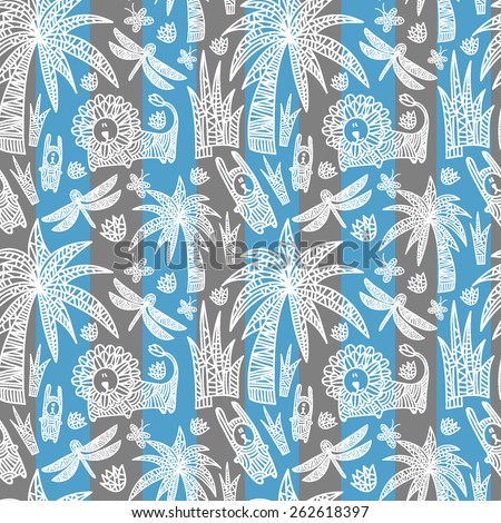 Children's seamless pattern with african animals and plants. Vector hand drawn colorful illustration with lion, rabbits, dragonflies, butterflies, flowers and palms. Stripped  background. - stock vector
