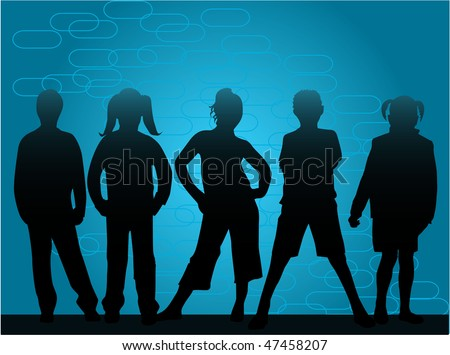 children's silhouettes on a blue background, vector - stock vector