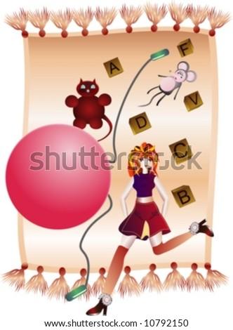 Children's toys scattered, tossed on the carpet.Vector. - stock vector