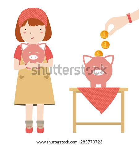 Children saving money in pink piggy bank. Business growing money concept. Pretty Girl. Vector illustration - stock vector