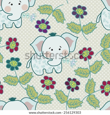 Children seamless pattern with elephants and flowers for the textile, fabric samples, paper - stock vector