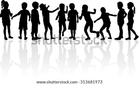 Children silhouettes. - stock vector