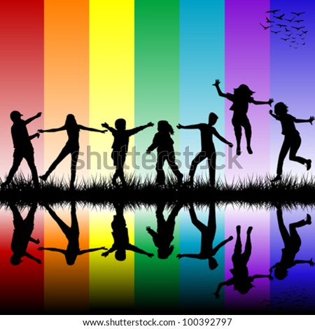 Children silhouettes over rainbow background - stock vector