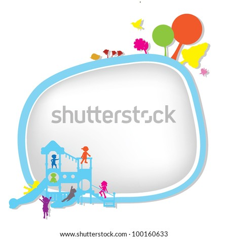 children silhouettes playground background for banners, background and others - stock vector