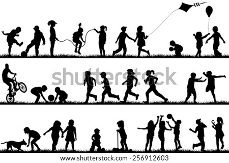 Children silhouettes playing outdoor - stock vector
