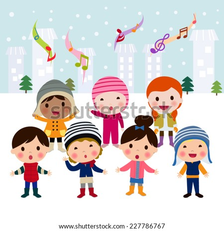 Children singing carols - stock vector