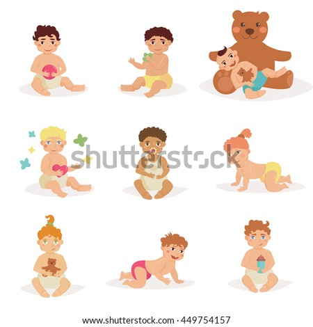 Children sit with toys in his hands. Babies in diapers. Bear, rattle, pacifier, ball, butterfly. Vector illustration in flat style. Image for booklets, brochures, flyers, websites. Cartoon characters - stock vector